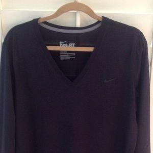 Dark purple Dri Fit v neck women's sports shirt